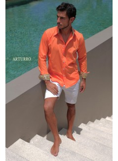 Plain Orange Cotton Shirt