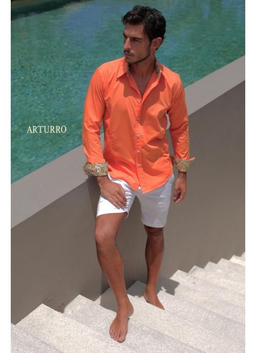 Plain Orange Cotton Shirt