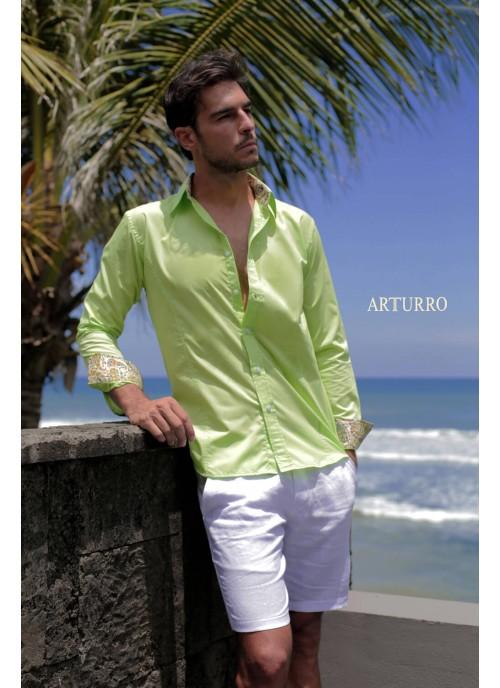 Plain Lime Cotton Shirt