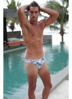 Blue And White Printed Swim Brief