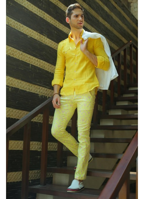 Floral Printed Yellow Slim Cut Trousers