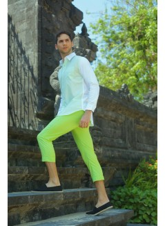 Lime Green Slim & Above Ankle Cut Trousers