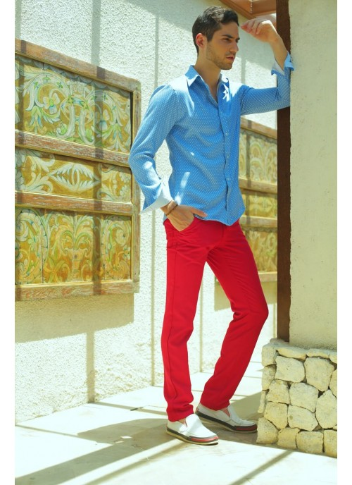 Slim Cut Red Trousers with two side and back pockets