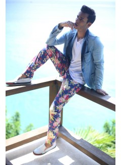 Floral Printed Trousers On Blue