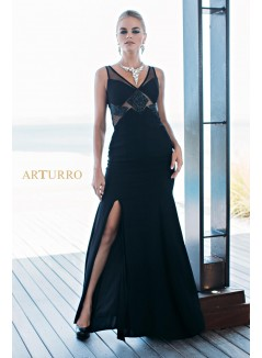 Black long evening dress