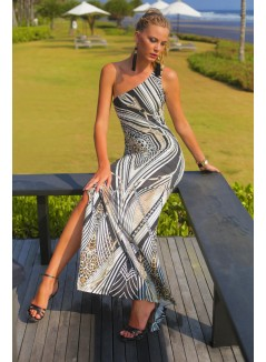 One shoulder classic printed long dress