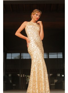 Oriental Style Gold Sequins applied Sheath Dress