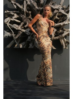 Animal Printed One Shoulder Long Dress with applications