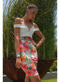 Fuschia Tropical Flowery Short Dress