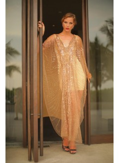 Gold Sequins Applied Long Kaftan