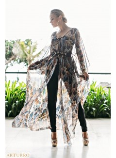 Printed Chifon Kaftan With Black Jumpsuit
