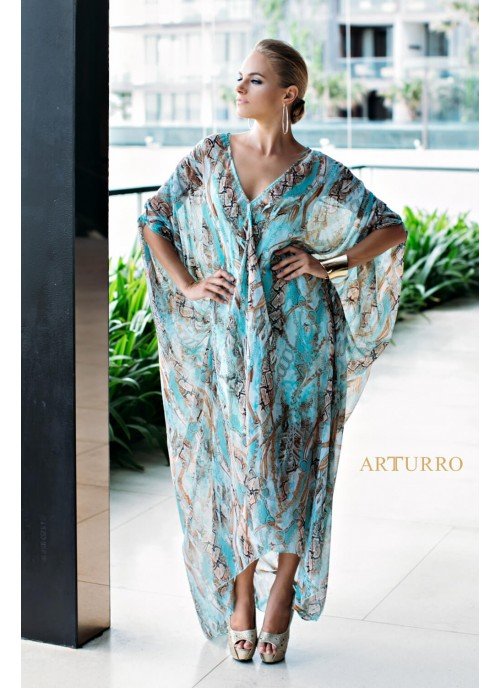 Printed Chifon Kaftan With Short Liner
