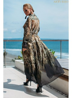 Printed Chifon Long Coat