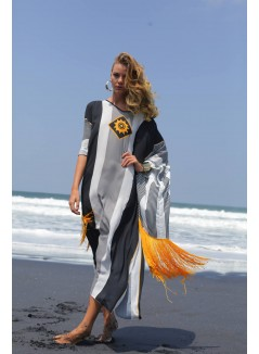 Contemporary Print Kaftan With Fringes