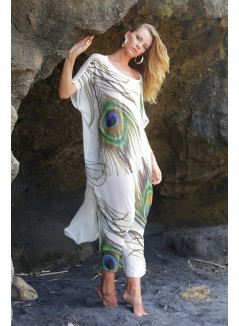 Peacock Feather Print Kaftan
