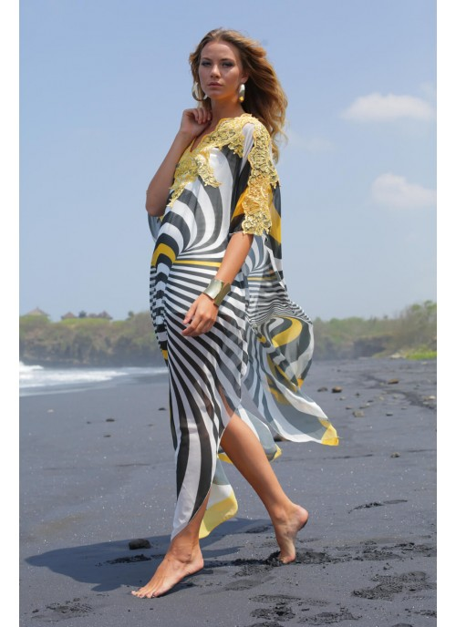 Contemporary Print Kaftan With Lace