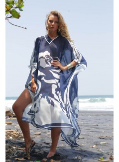 White on Blue Rose Printed Kaftan